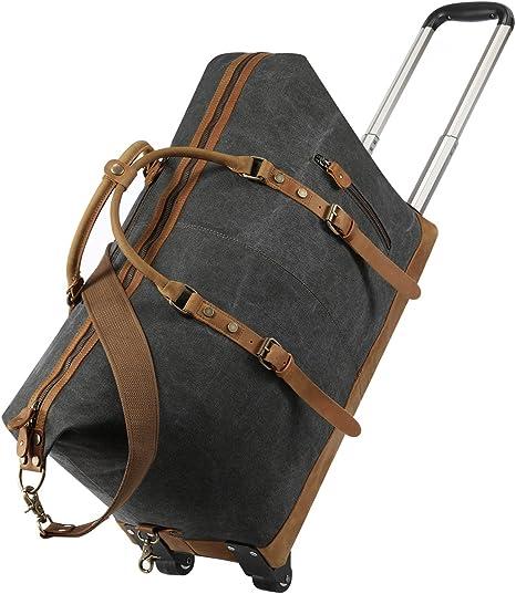 Amazon.com: Kattee - Bolsa de viaje con ruedas (piel, 50 L ...