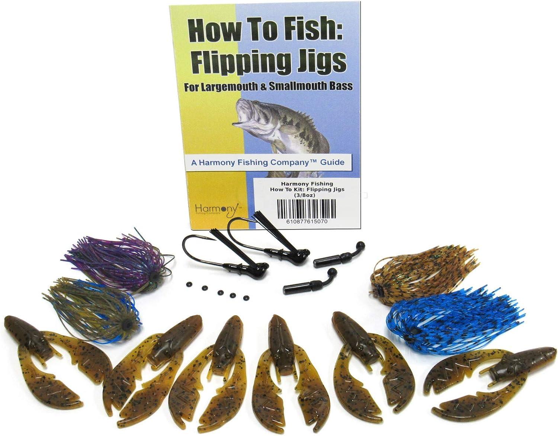 Harmony Fishing - Tungsten Flipping Jig 20 Piece Kit - 3/8oz Flipping Jigs, Skirts, Rattles, Bait Pegs, 6pk NetBait Paca Chunk Baits