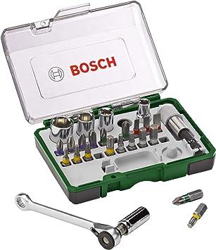 Bosch Professional 2607017160 Pack Unidades para Atornillar, con Llave de carraca, versión estándar, Standard, 750 W, Negro/Verde, 1 pack, Set de 27 Piezas: Amazon.es: Bricolaje y herramientas