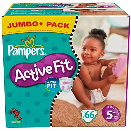 PAMPERS Pañales Active Fit Talla 5 + Junior Plus 13 – 27 Kg Jumbo Plus Pack