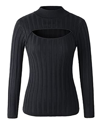 1a9b8bc5631187 YABINA Women Sexy Keyhole Front Tight Turtleneck Pullovers Sweater Shirt  (One Size Small Strap