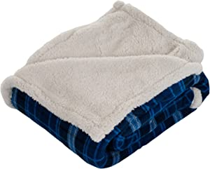Lavish Home Throw Blanket, Fleece/Sherpa, Blue