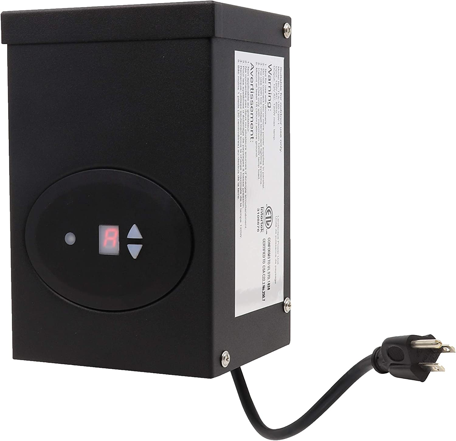 GKOLED ETL Listed 120W Low Voltage Transformer with Photocell and Timer, 120V AC to 12V AC Outdoor Power Pack, for Landscape Lighting Systems, Fully Encapsulated Toroid Core, CEC VI Certified