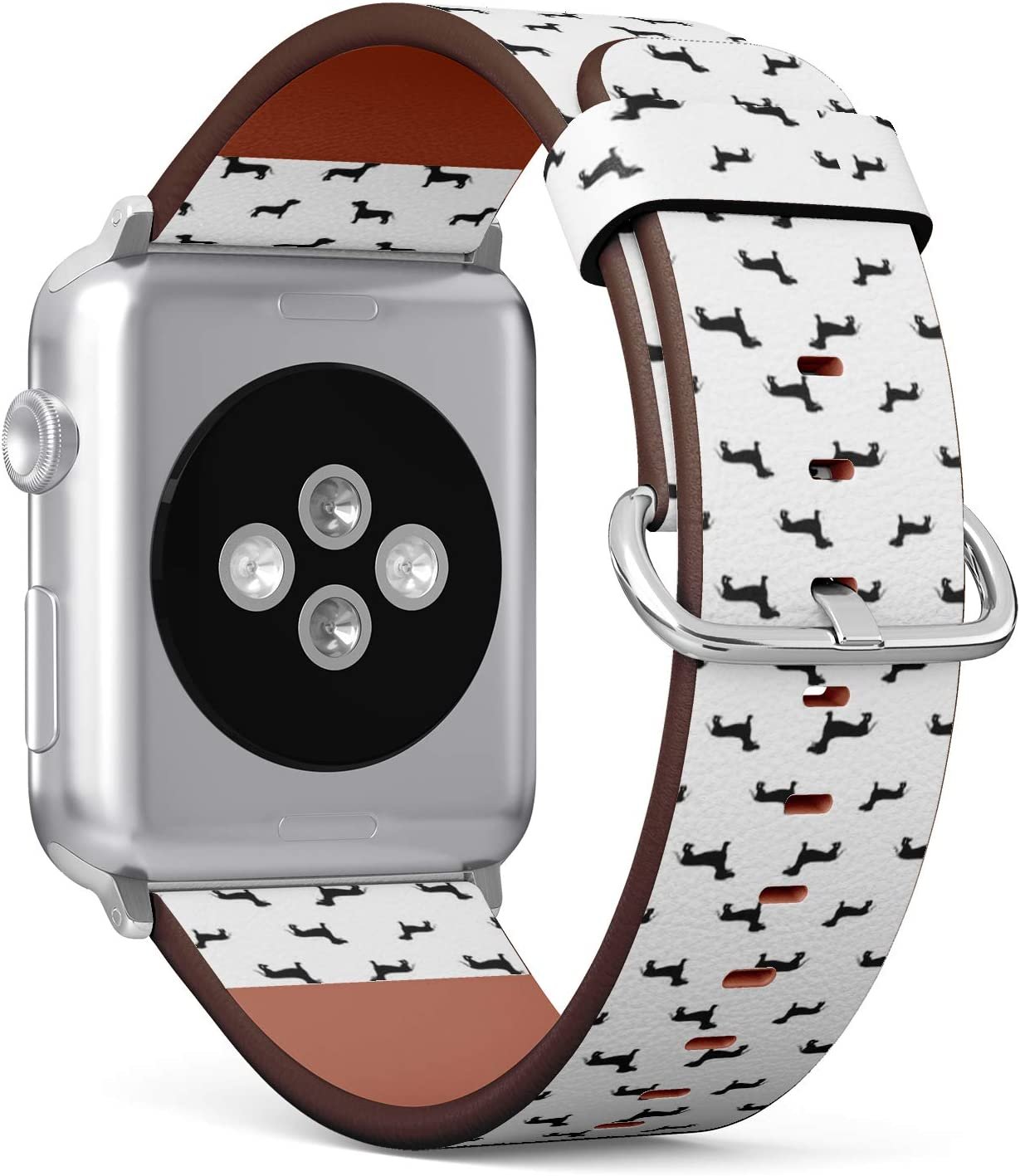 Compatible with Apple Watch (Small 38mm/40mm) Series 1,2,3,4 - Leather Band Bracelet Strap Wristband Replacement - Dachshund Dog