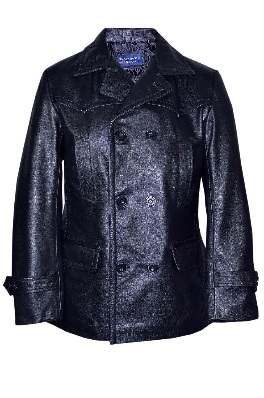 Men's KRIEGSMARINE Black German DR WHO WW2 UBoat Reefer Genuine Hide Leather Jacket Coat