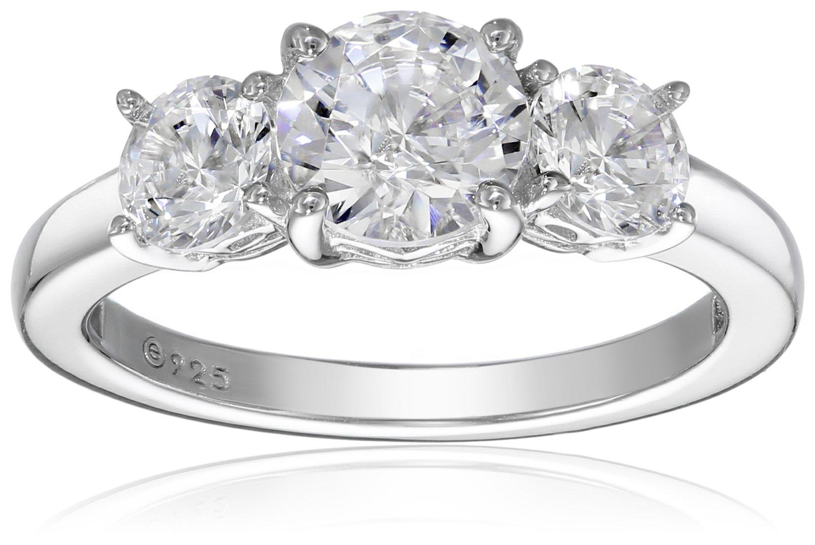Platinum Plated Sterling Silver Three-Stone Anniversary Ring set with Round Cut Swarovski Zirconia (2 cttw), Size 6