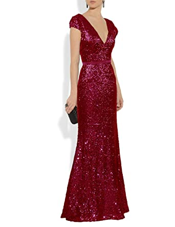 c98867e6fa0 YSMei Women s Sequins Evening Dress Long Mermaid Prom Formal Gowns Plunge V  Neck Burgundy 2