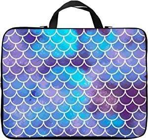Britimes Laptop Case 14 15 15.6 inch, Colorful Mermaid Scales Ocean Underwater Colorful Fish Tail Vintage Neoprene PC Computer Sleeve Waterproof Notebook Handle Carrying Bag
