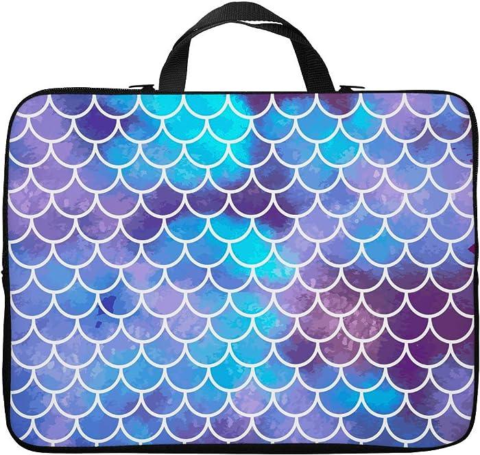Britimes Laptop Case 14 15 15.6 inch, Colorful Mermaid Scales Ocean Underwater Colorful Fish Tail Vintage Neoprene PC Computer Sleeve Waterproof Notebook Handle Carrying Bag