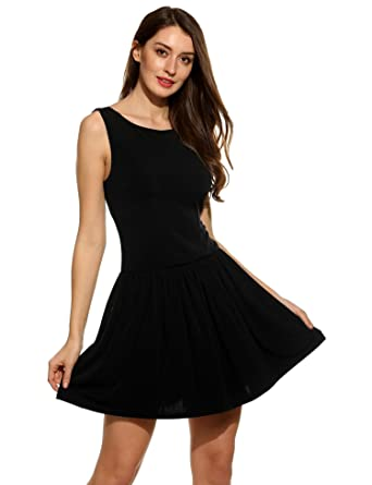 c1f1e82d13231 Seewebest Women s Fit and Flare Scoop Neck Sleeveless Halter Mini Skater  Dress for Party(B
