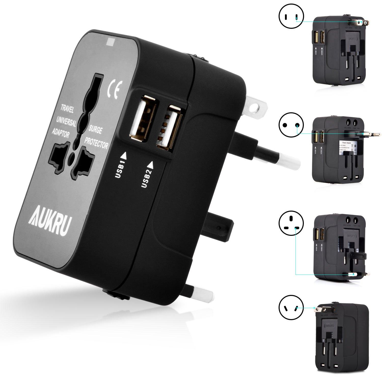 Aukru Universal Portal Power International Travel Adapter with Dual USB Ports Charger (5V 2.1A) / AII-in-1 Worldwide Multiple Plug Adapter Canada US EU UK AU - Universal AC Socket - Black CA-WorldAdaptor 2USB2.1A-BLK