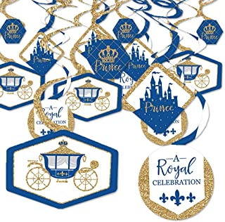 product image for Royal Prince Charming - Baby Shower or Birthday Party Hanging Decor - Party Decoration Swirls - Set of 40