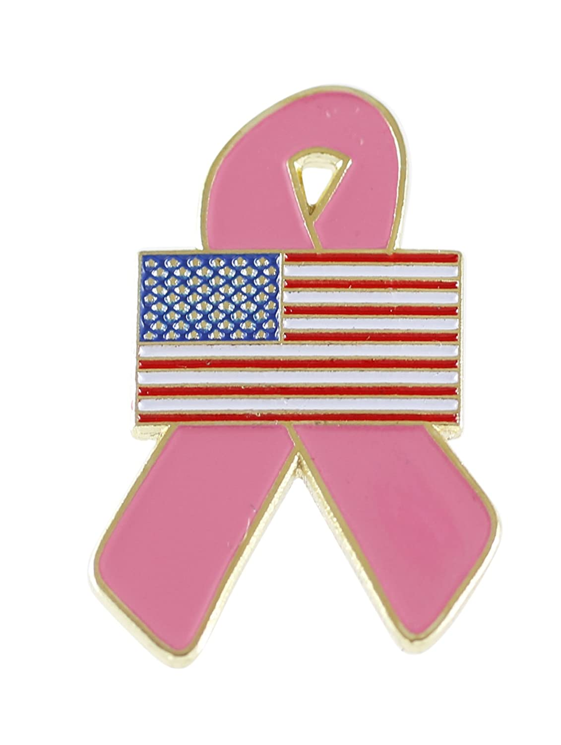 American Flag Pink Breast Cancer Awareness Ribbon Lapel Pin Forge A-19