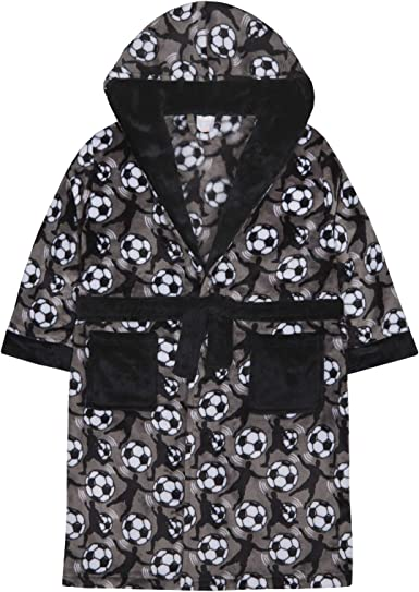 Strong Souls Boys Fleece Hooded Dressing Gown Football