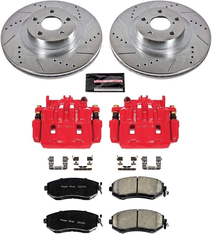 Power Stop Z23 Evolution KC6070 Front Kit Rotors Carbon-Fiber Ceramic Pads Brake Calipers