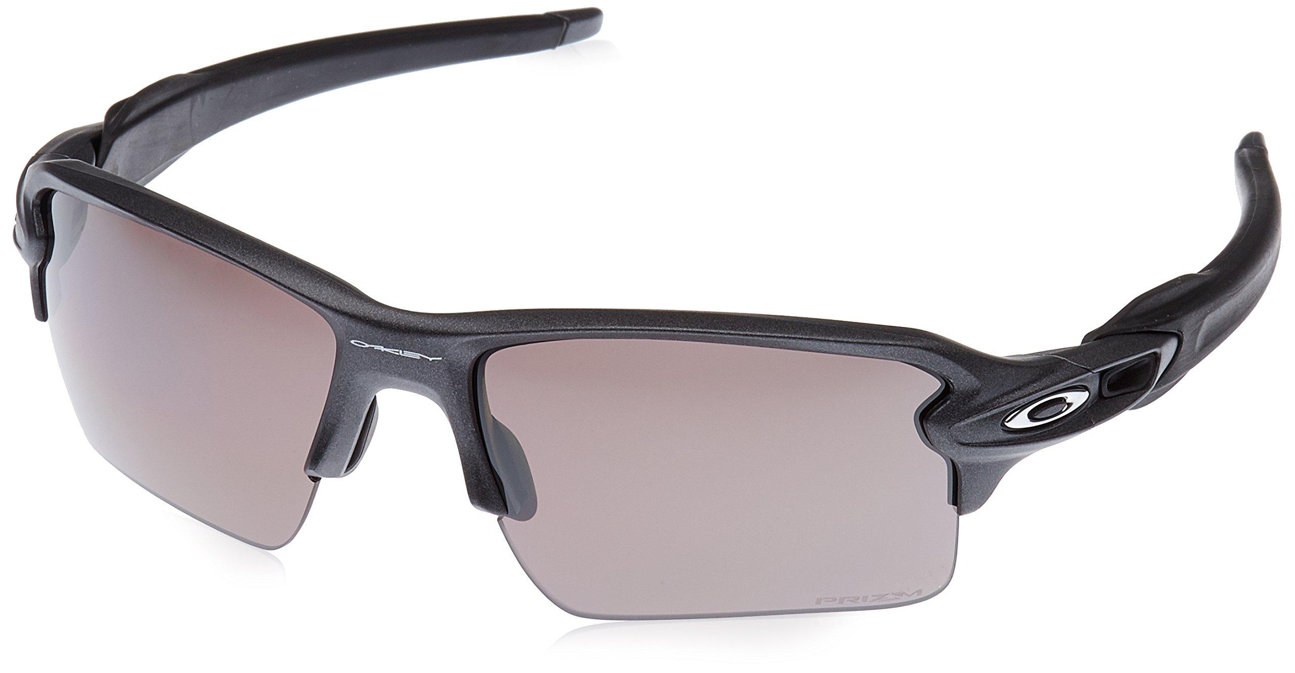 Oakley Men's Flak 2.0 XL Polarized Iridium Rectangular Sunglasses, Steel, 59.0 mm