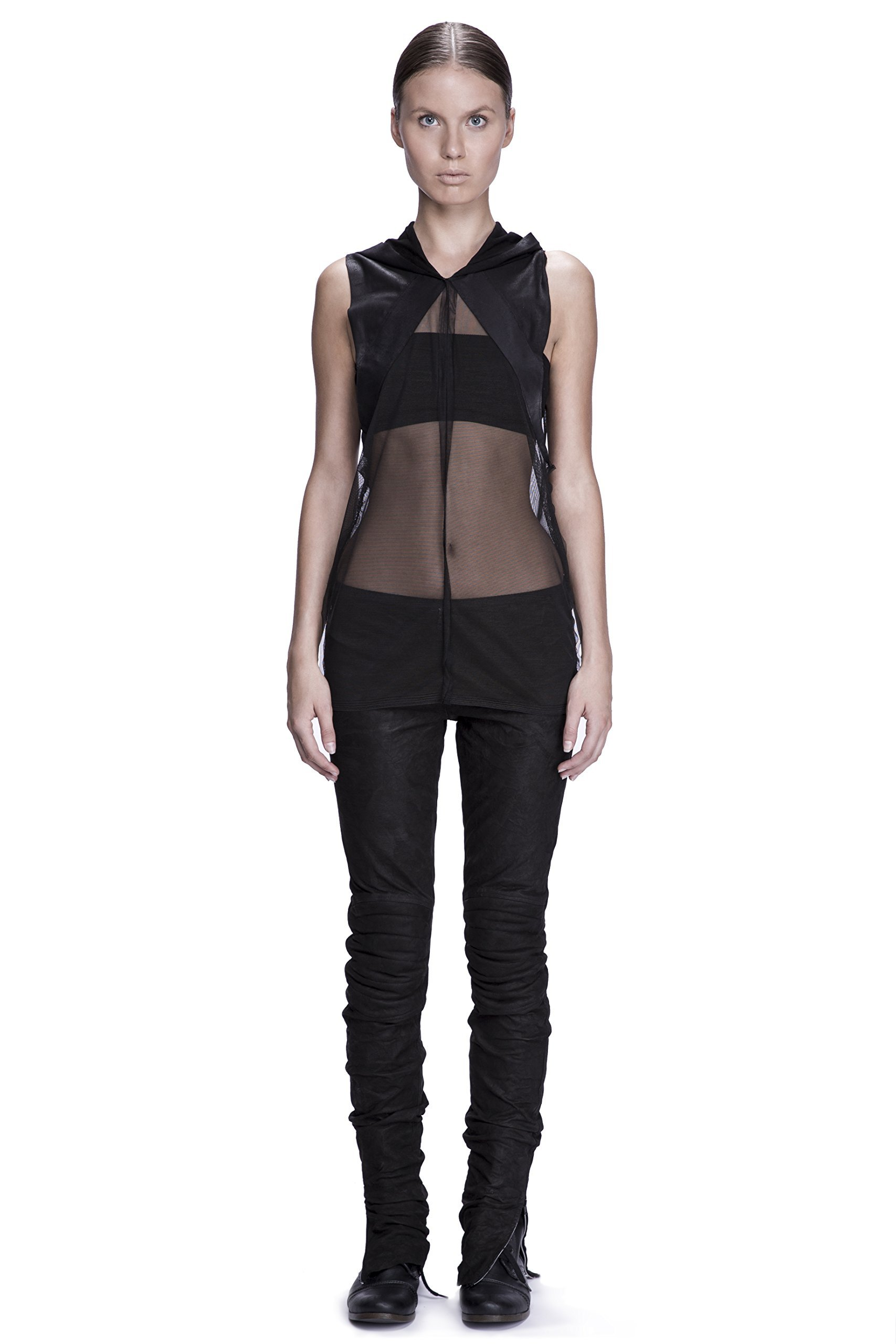 Unisex Leather and Mesh Hooded Tank Top