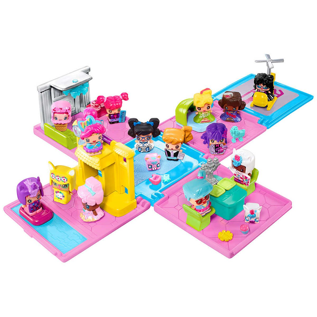 My mini mixie qs 16 figures villa playset with mystery figures features toy pets themed furniture moving parts hairstyles outfits and animal