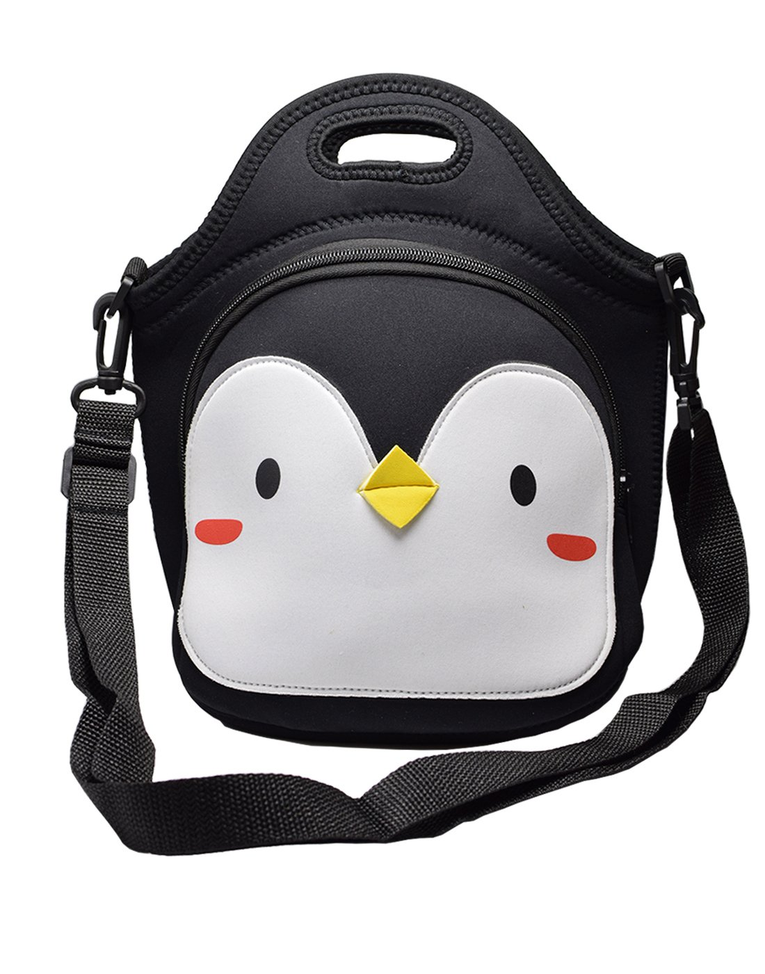 MOT Global Penguin Insulated Neoprene Lunch Tote Bag + Adjustable Shoulder Strap