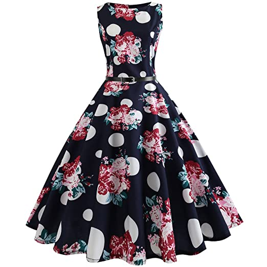 Women Dresses Godathe Women Vintage Printing Bodycon Sleeveless Casual Evening Party Prom Swing Dress S-
