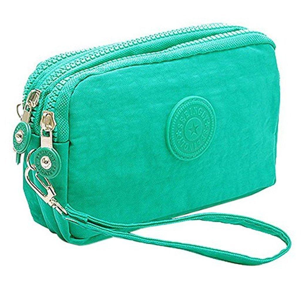 Btoon 3 Layer Zipper Nylon Wallets for Women Wristlet Bag Purse Waterproof Cell Phone Pouch Handbag (Black)