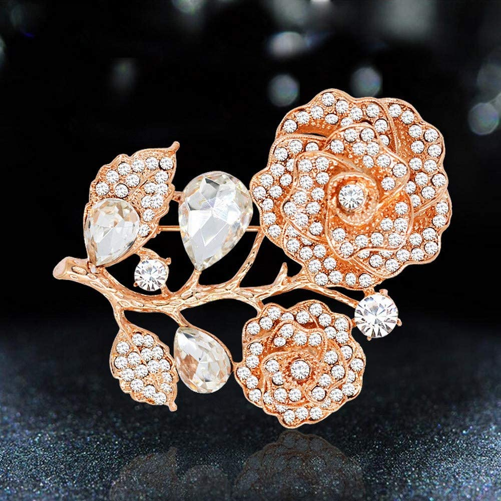 DDLKK Crystal Flower Diamond Ladies Pin Ladies Jewelry Ladies and Women Accessories Jacket Pin Brooch Clothing Ladies Fashion Gifts Cute Pin Alloy Plating