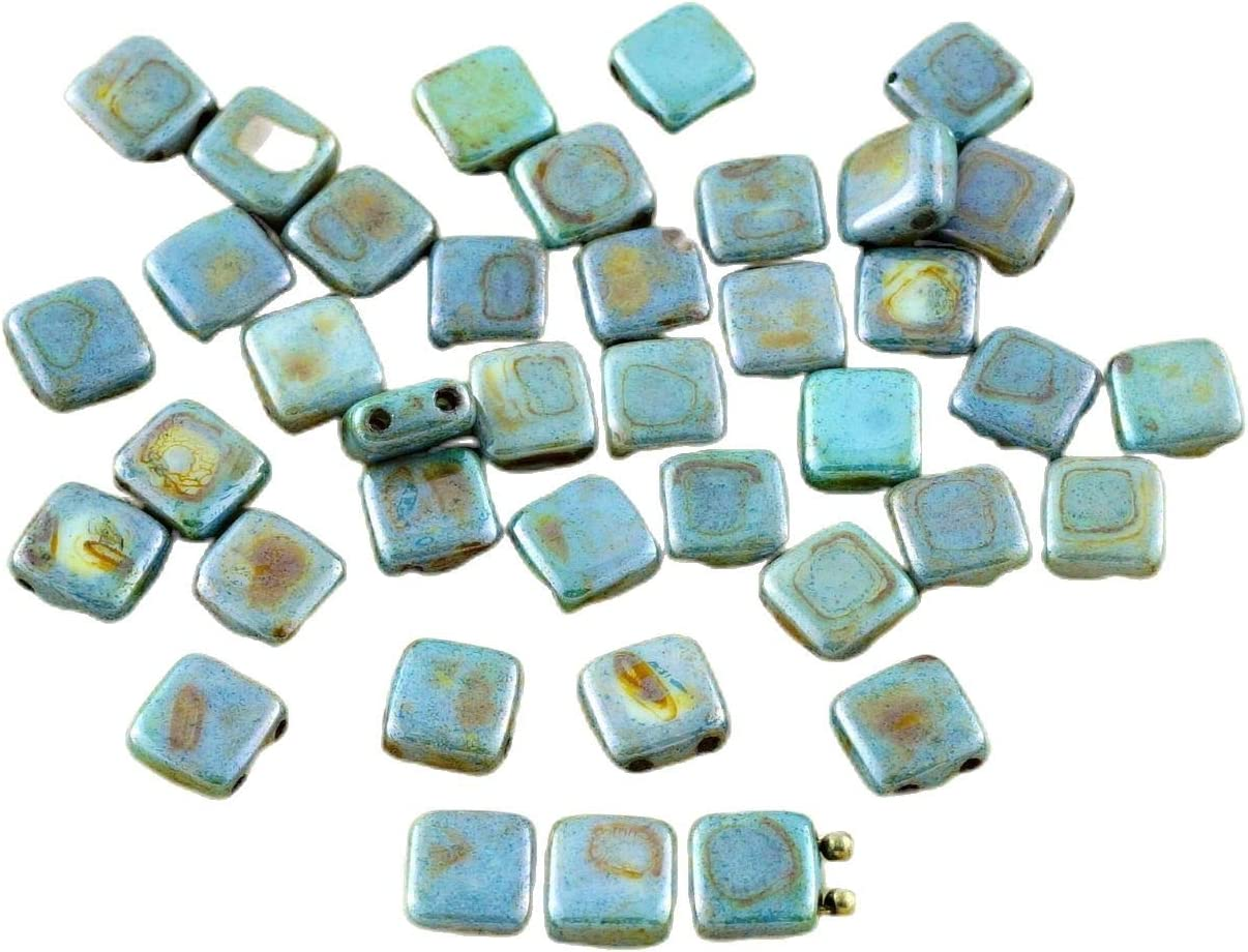 40pcs Two Hole Pressed CzechMates Glass Tile Beads 6mm Opaque Light Green Ceramic Look