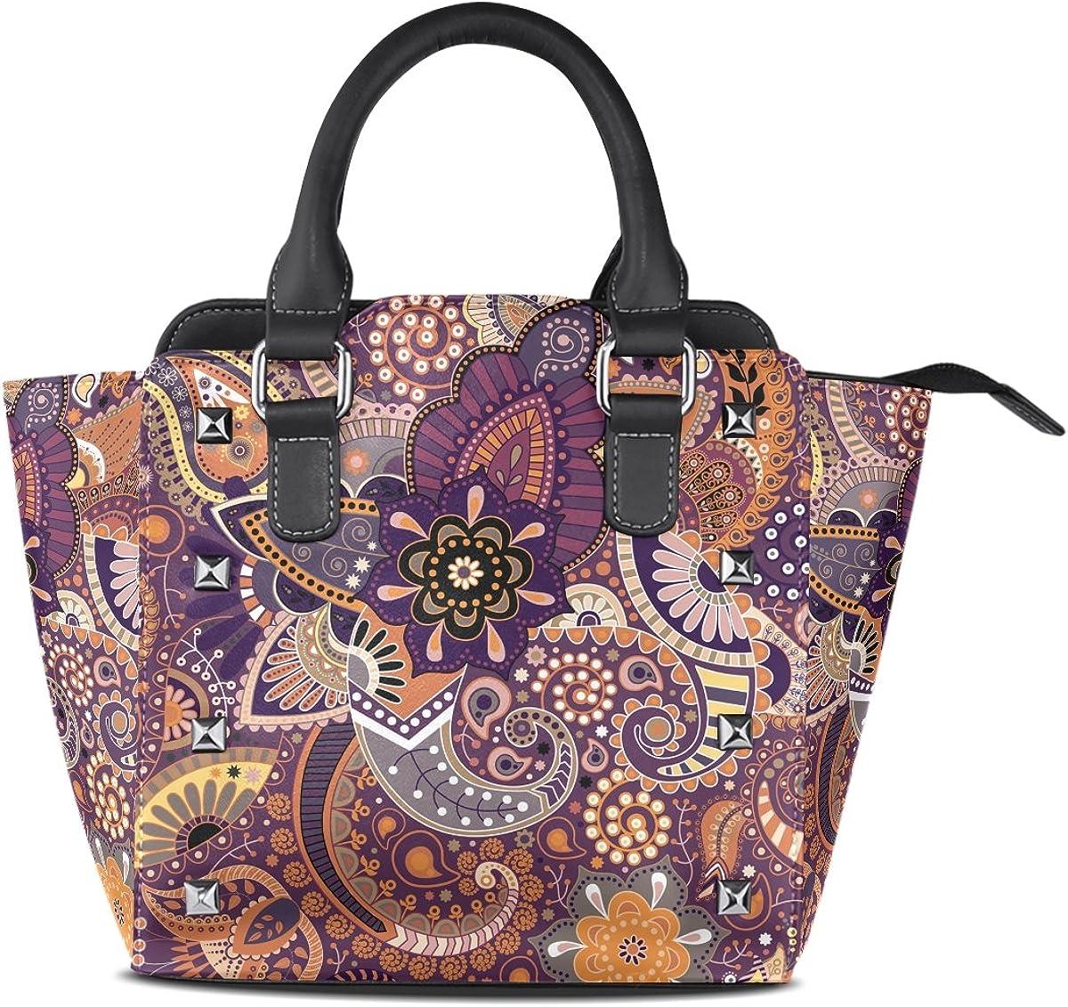 Jennifer PU Leather Top-Handle Handbags Cool Paisley Floral Pattern Single-Shoulder Tote Crossbody Bag Messenger Bags For Women