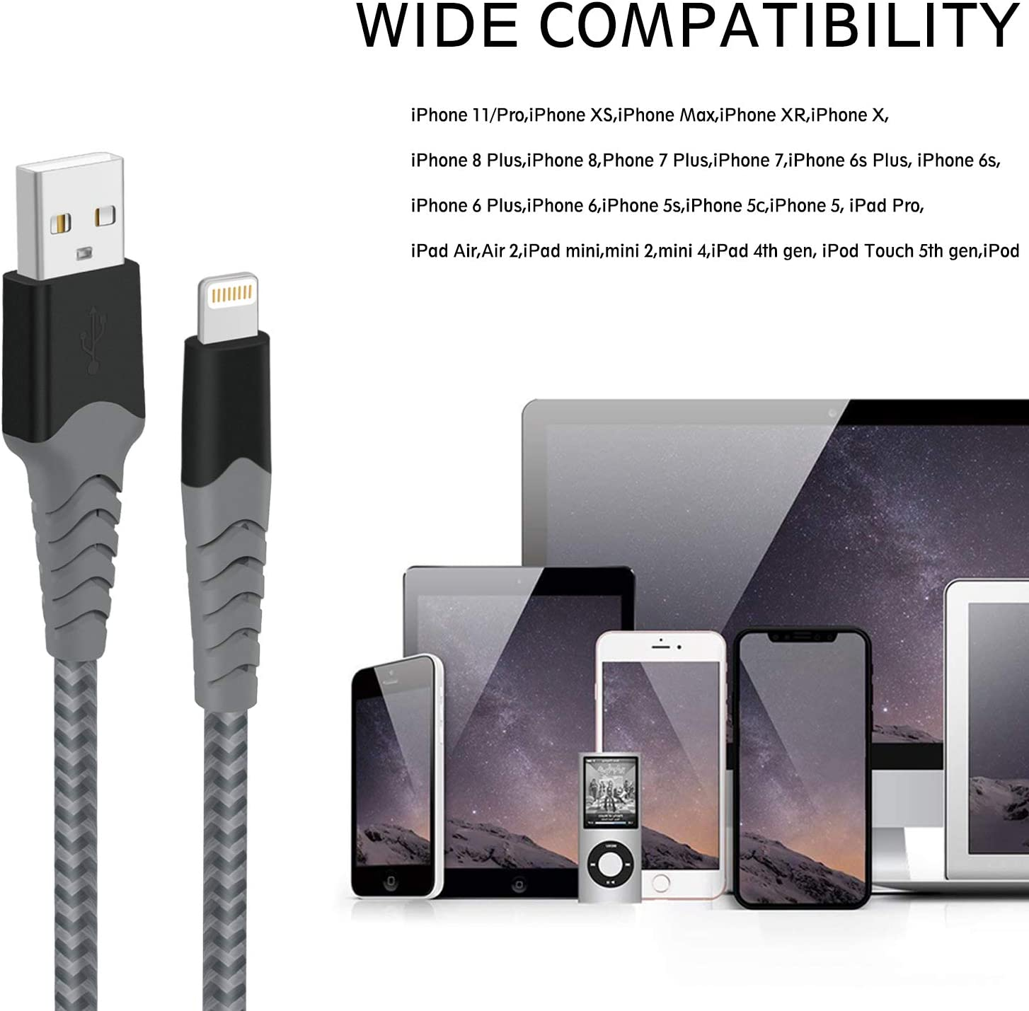 Wingstime iPhone Ladekabel Lightning Kabel 3 St/ück 2m USB Ladekabel Schnellladung Nylon iPhone Kabel Compatible with iPhone X XR XS 11 10 8 8 Plus 7 7 Plus 6 6S 6S Plus 5S 5 SE iPad
