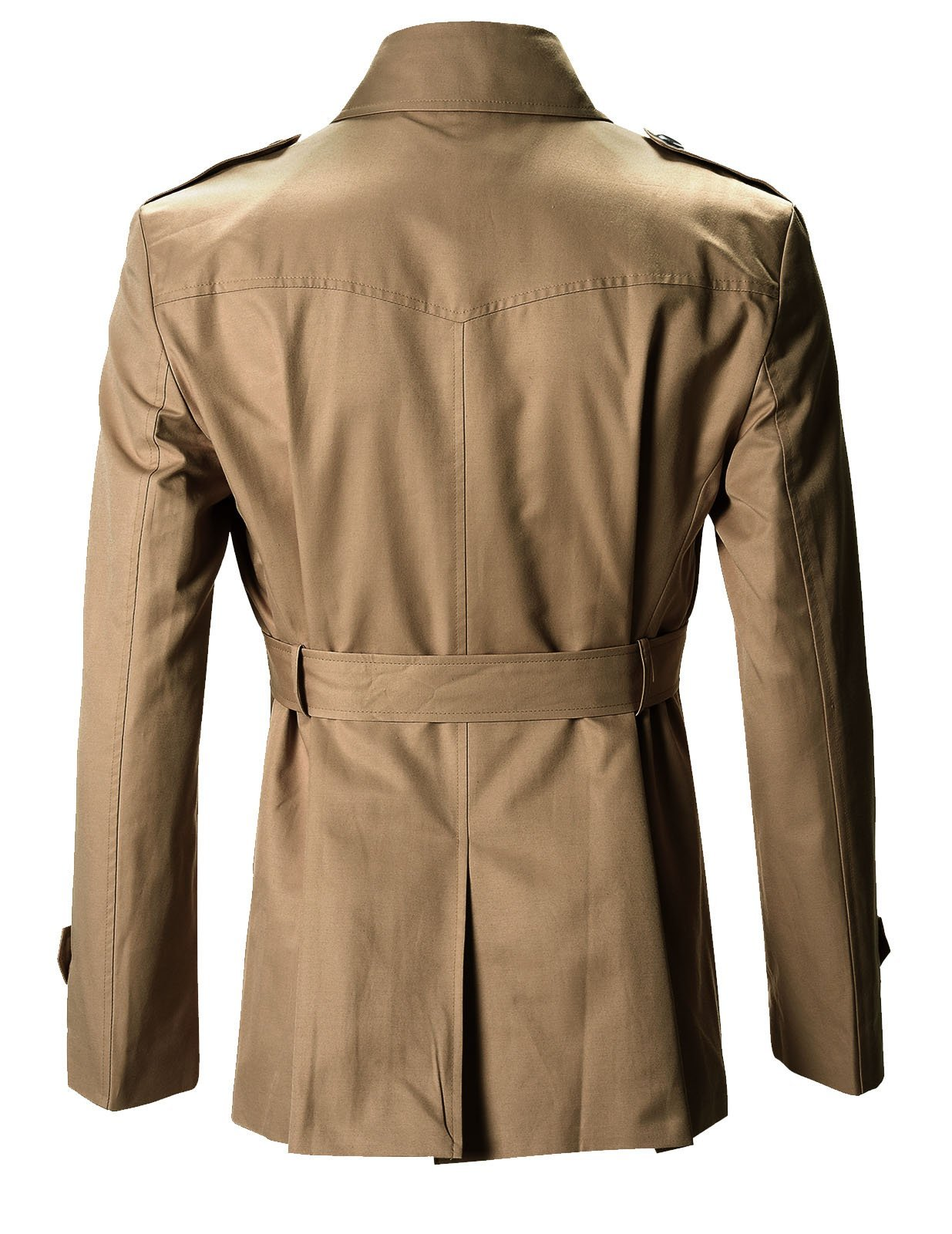 FLATSEVEN Mens Slim Fit Designer Casual Trench Coat (FCT201) Dark Beige, Size XL by FLATSEVEN (Image #3)
