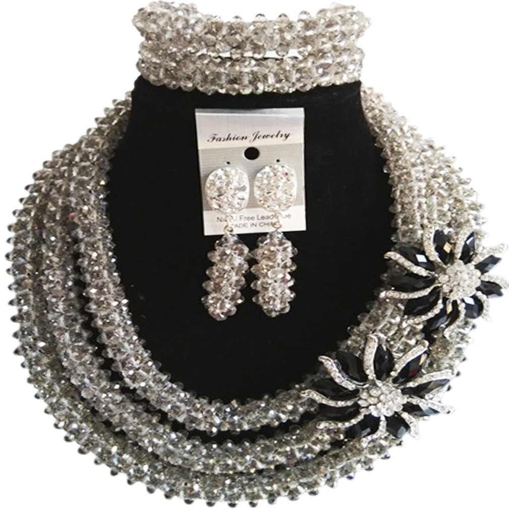 laanc 98% Crystal Woman Jewellery Sets Multicolor,Party,Gift,Multi Use - Nigerian Bride African Jewelry (Silver Grey)
