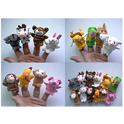 Soft Plush Velour Animal Hand Puppets Kids Animal Finger - 10 Pieces: Toys & Games