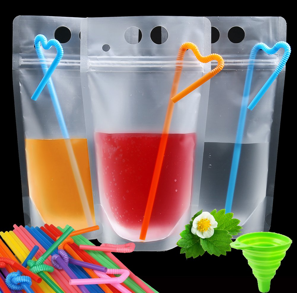 100 Pcs Smoothie Bags with Straws - No Leakage Drink Pouches Bags - Stand up Disposable Drink Container for Freezing Juice,Cold & Hot Drinks - Non-Toxic,BPA Free – 100 Straws & 1 Funnel Included