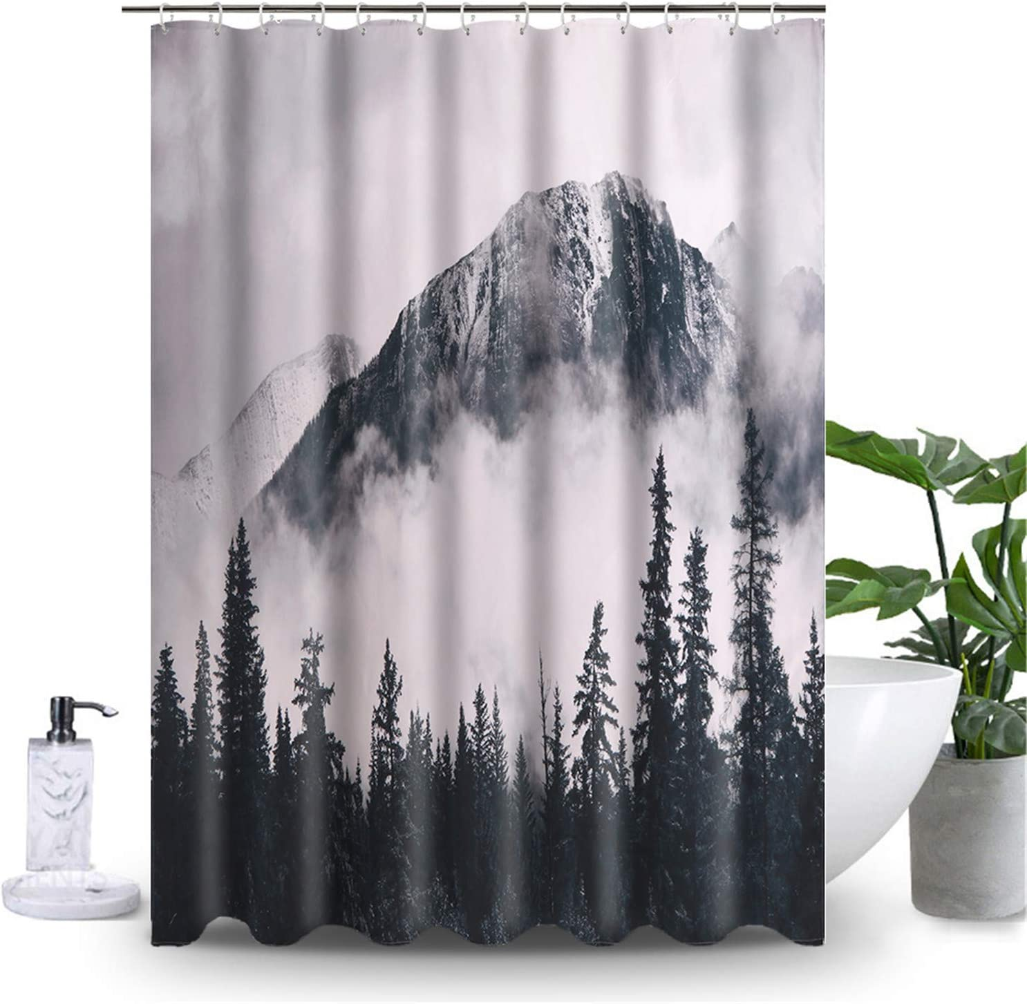 Uphome Foggy Forest Fabric Shower Curtain Nature Parks Canadian Smokey Mountain Cloth Shower Curtain Set with Hooks Misty Landscape Photo Bathroom Decor,Heavy Duty Waterproof, 72x72