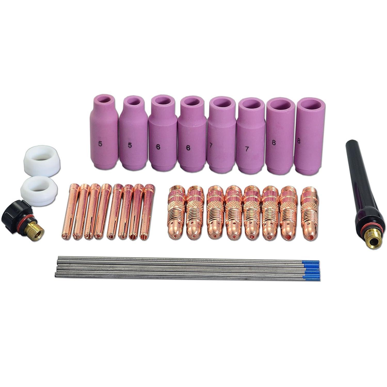 2% TIG Lanthanate elettrodi tungsteno TIG Collet corpo accessorio kit di montaggio WP-17 WP-18 WP-26 TIG Torcia 36pcs RIVERWELDstore