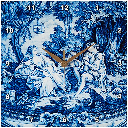 3dRose dpp_34728_1 French Blue Toile Wall Clock, 10 by 10-Inch For Sale