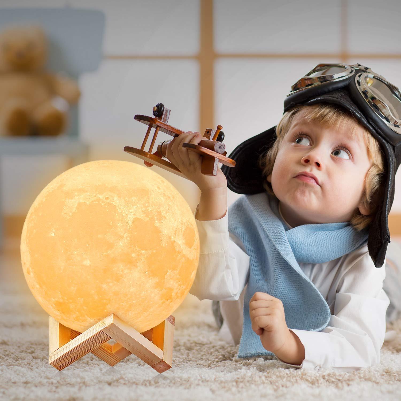 lámpara forma luna con luz