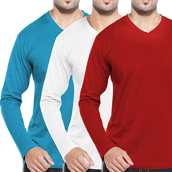 f70942c72868 Pooplu Mens V Neck Pack of 3 Combo Full Sleeves Cotton Printed White ...