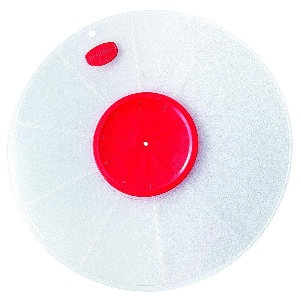 Dr. Oetker Spritzschutzdeckel Ø 30 cm, passt auf große und kleine Schüsseln, verhindert lästiges Spritzen des Teigs beim Mixen und Aufschlagen, (Farbe: weiß/rot), Menge: 1 Stück (Farbe: weiß/rot) Menge: 1 Stück 1642