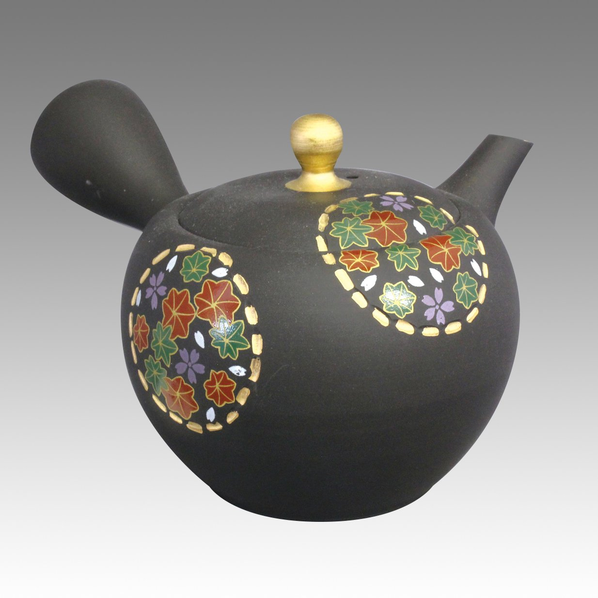 TOKYO MATCHA SELECTION - Tokoname Kyusu teapot - SHOHO - Round window plum 320cc/ml - ceramic fine mesh [Standard ship by EMS: with Tracking & Insurance]