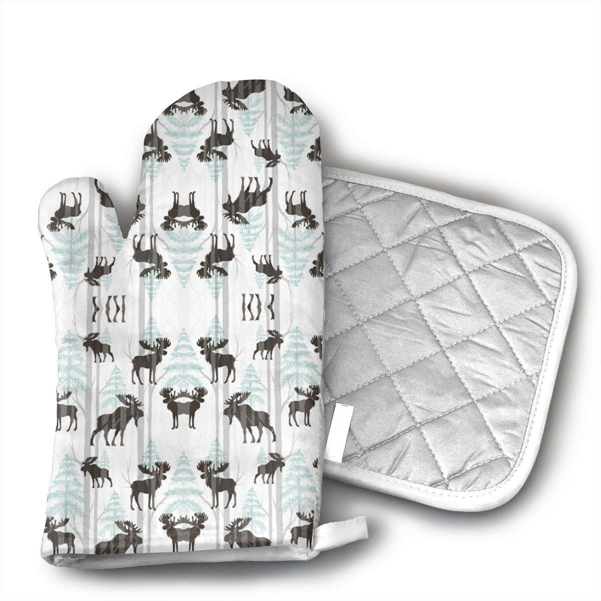InsulatedMitt59 Moose Forest Oven Mitts, Non-Slip Silicone Oven Mitts, Extra Long Kitchen Mitts, Heat Resistant to 572¡ãF Kitchen Oven Gloves