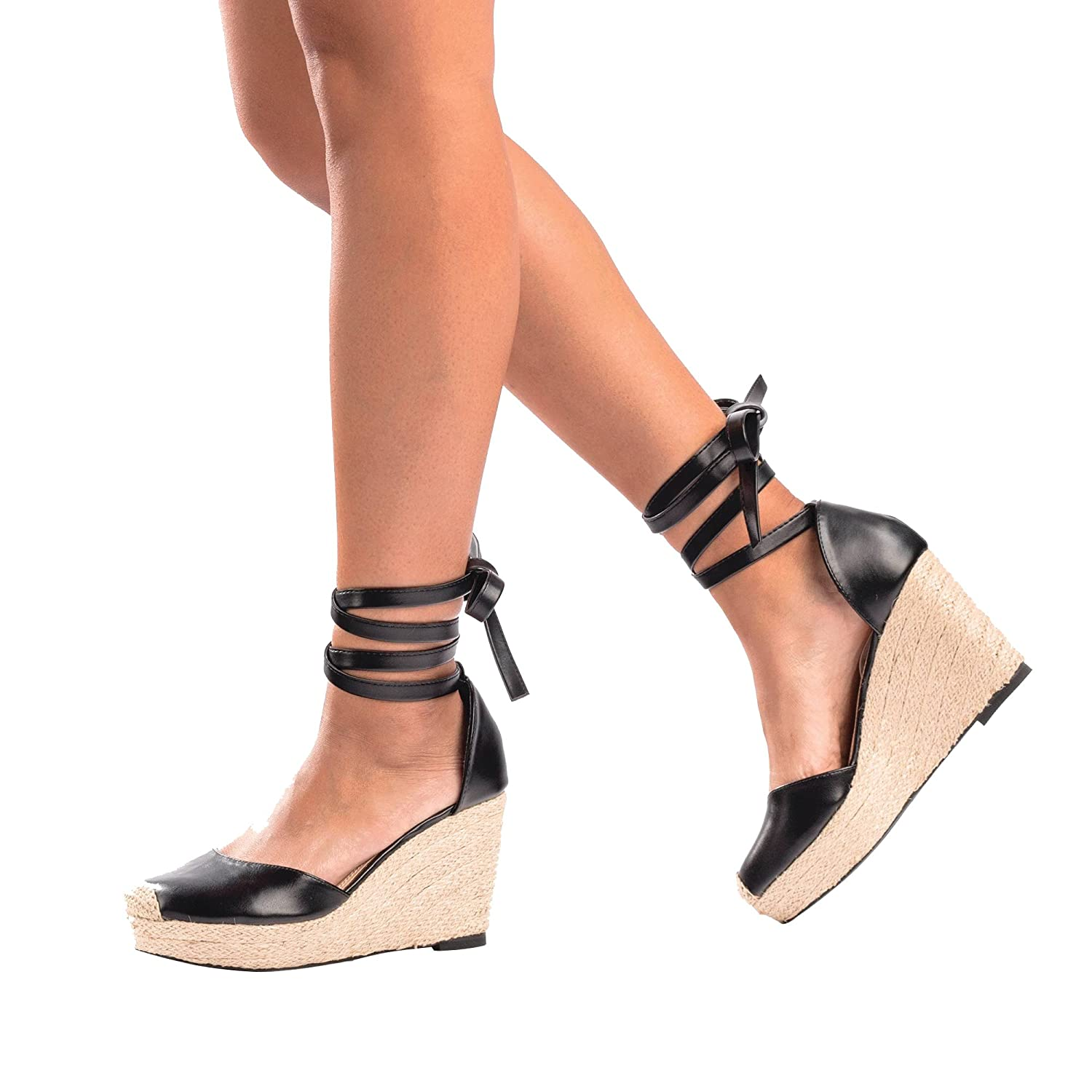 84439daef5f GuiltySoles EVON Lace-Up Wedges Ankle Wrap Sandals Low Wedge Shoes ...