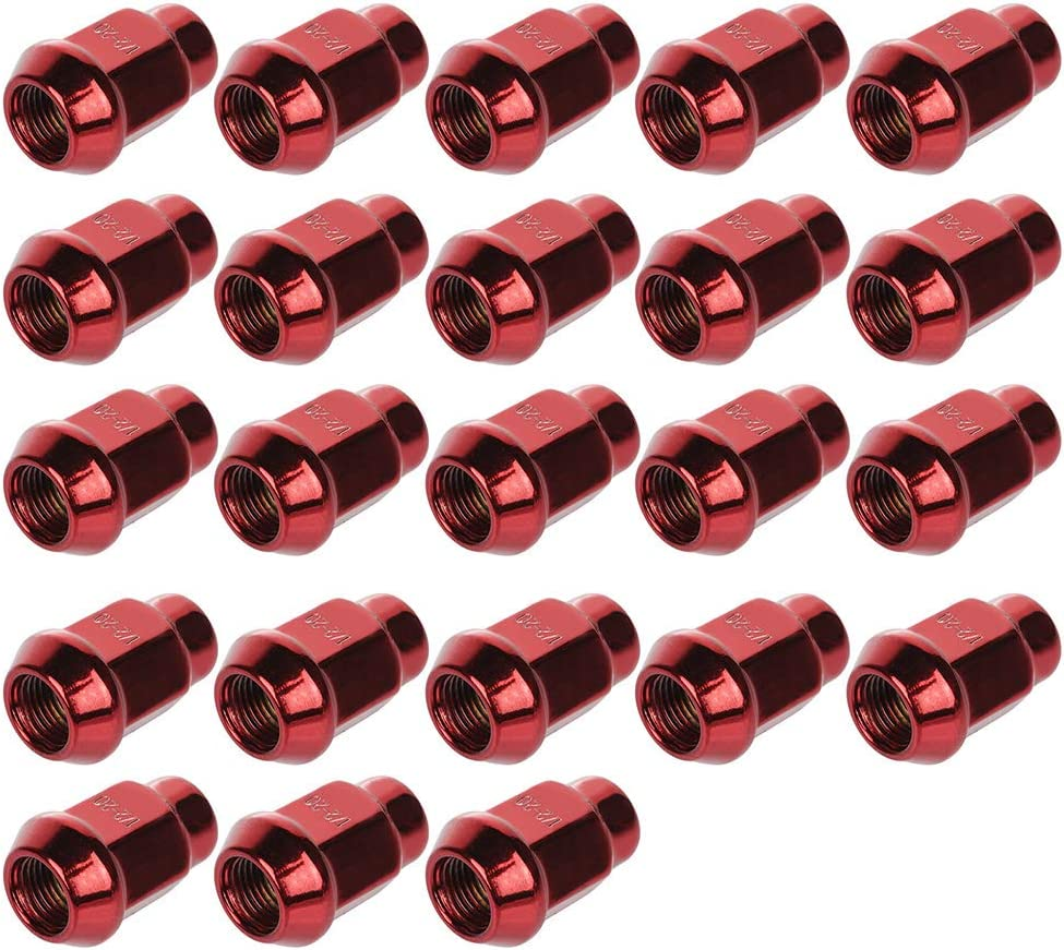 ECCPP Wheel Lug Nuts 23 Pieces 1//2-20 Red Bulge Acorn Drive Closed 3//4 Lug Nuts for Jeep Cherokee//CJ5//Comanche//Grand Cherokee 1966-2013
