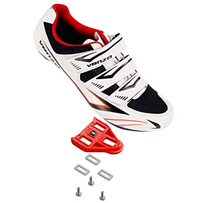 Venzo Bicycle Men's or Women's Road Cycling Riding Shoes - 3 Velcro Straps- Compatible with Peloton Shimano SPD & Look ARC Delta - Perfect for Road Racing Bikes White with Delta Cleats: Sports & Outdoors