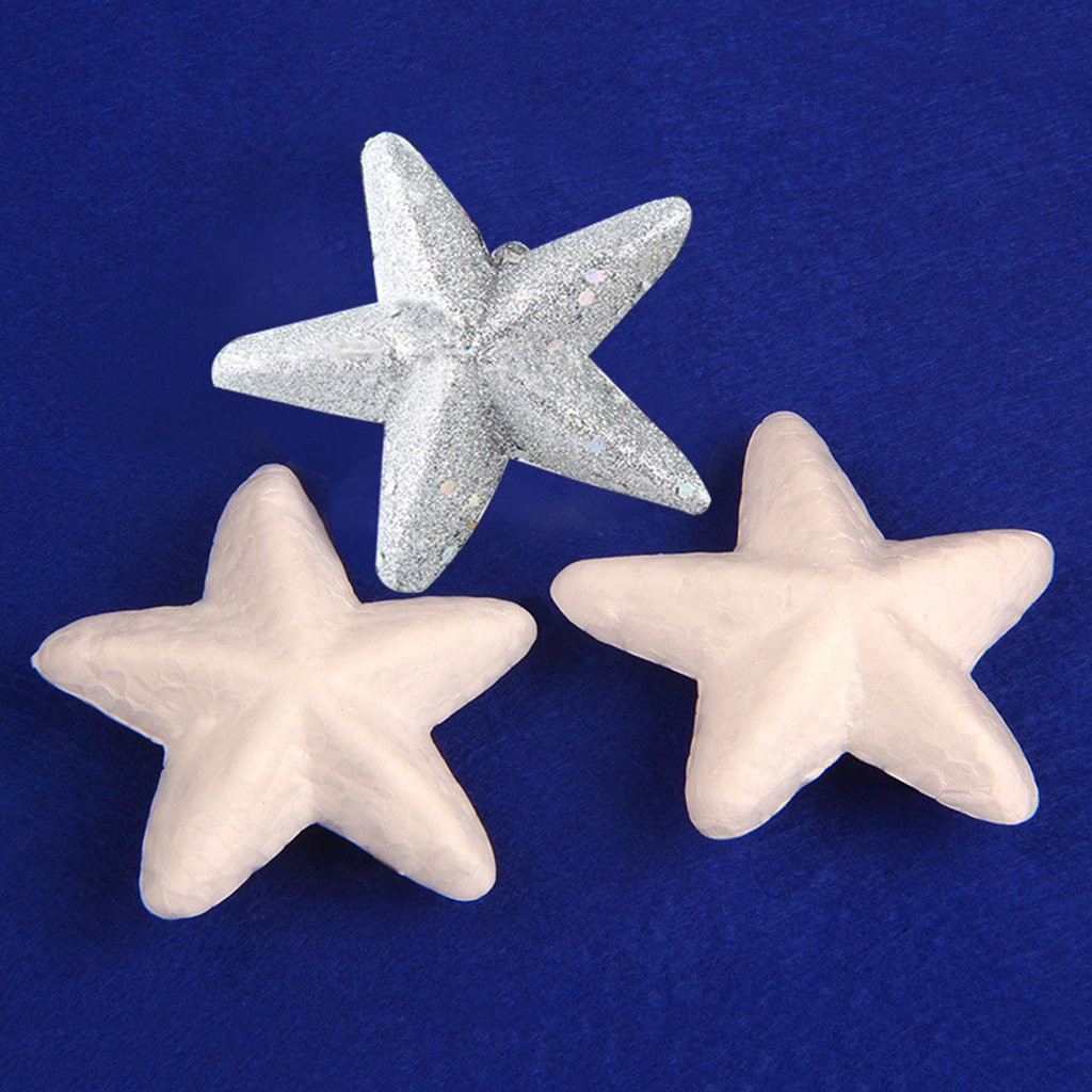 20 Pieces White Star Shaped Styrofoam Ornament for Handmade Party Decoration Kid Crafts