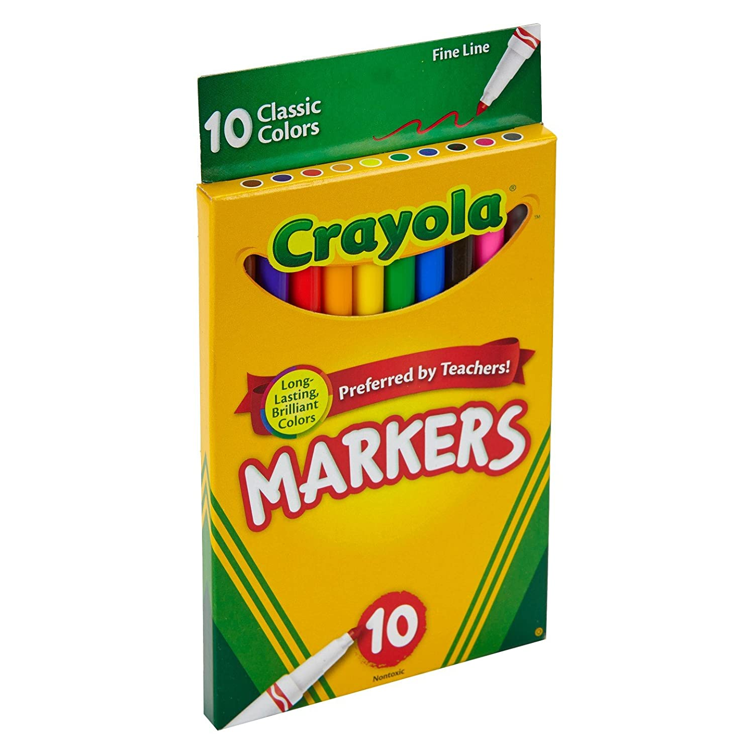 Crayola Fine Line Markers Assorted Classic Classpack Pack of 10