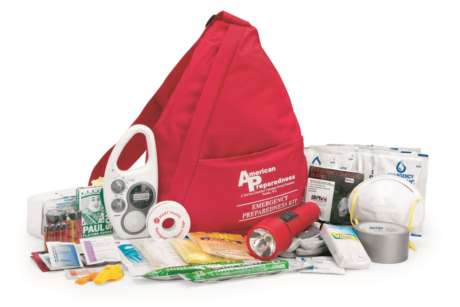 American Preparedness SLING-21 64-Piece One Person Basic Emergency Preparedness Kit with Shoulder Bag