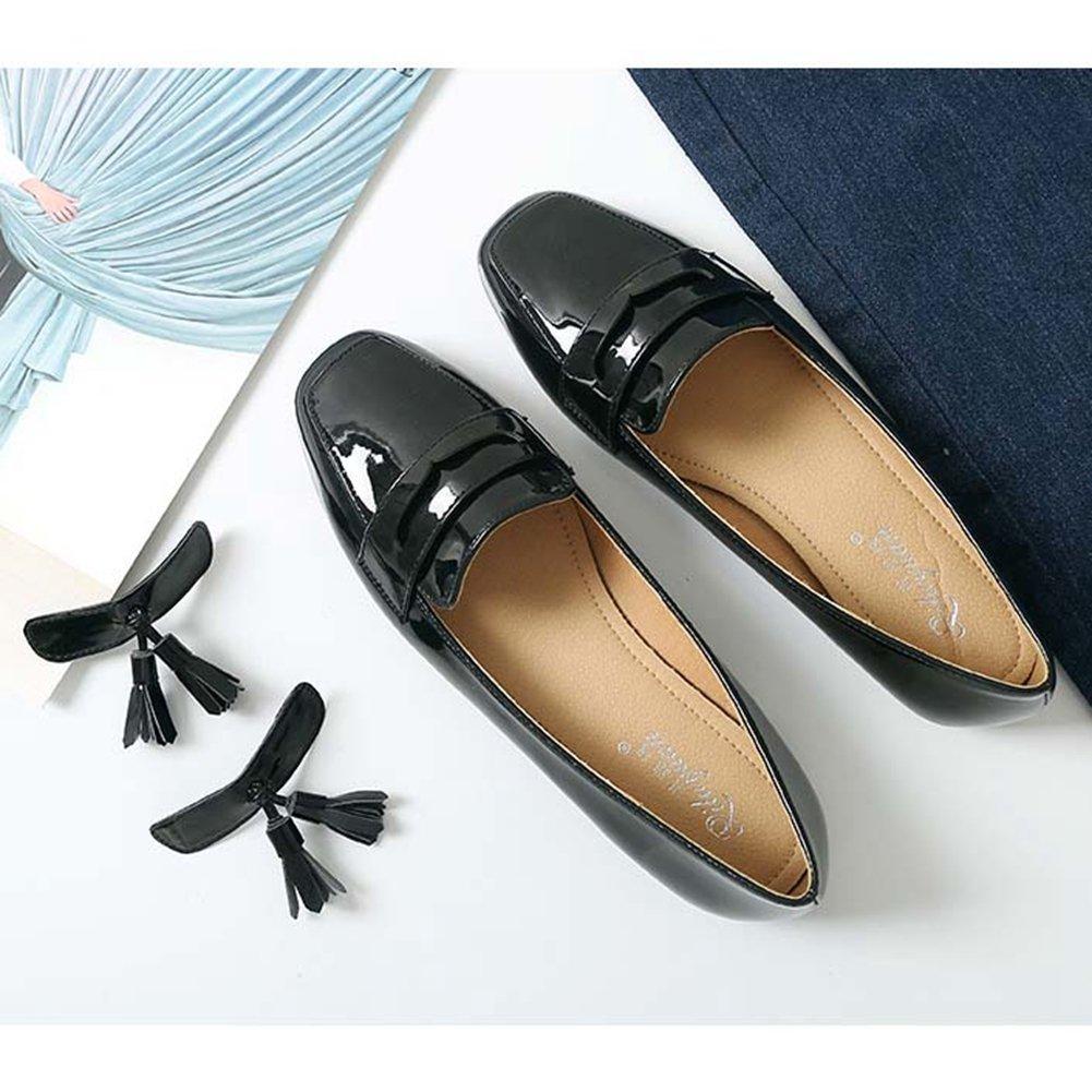 JINANLIPIN Women's Square Toe Tassel Ballet Flat Moccasins Slip-On Classic Dress Penny Loafer Shoes B07D1MC7K8 7 B(M) US|Black