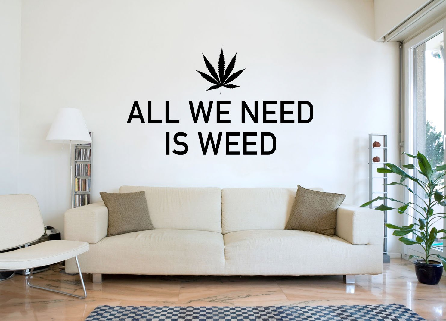 All We Need Is Weed Wandtattoo schwarz Certified Freak 180 x 100 cm