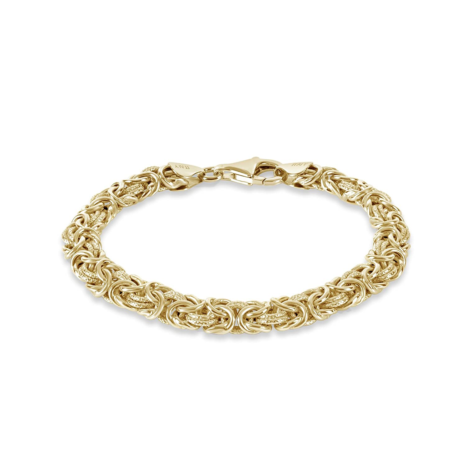c5044476df3d1 Amazon.com: 18k Gold Over Sterling Silver Textured Byzantine ...